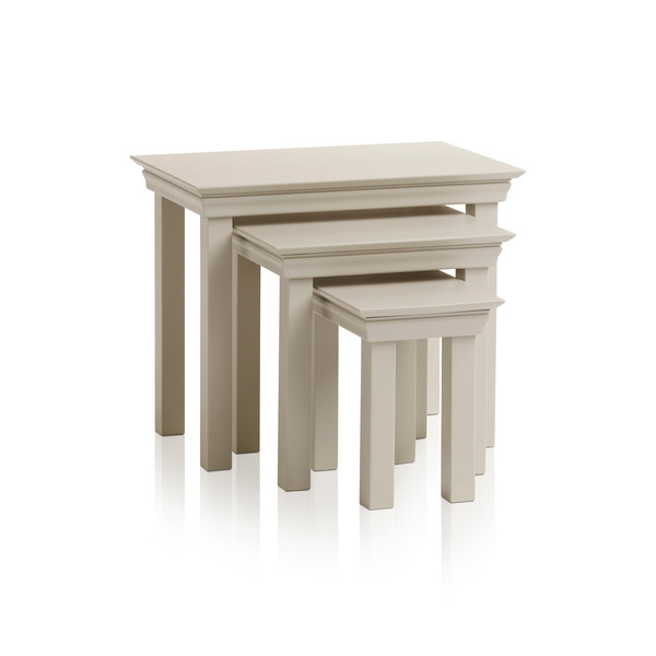 Arlette Grey Nest Of 3 Tables In Painted Hardwood thumbnail