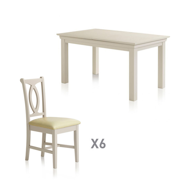 Arlette Painted Hardwood Dining Set 5ft Extending Dining Table With 6 Cream Leather Chairs thumbnail