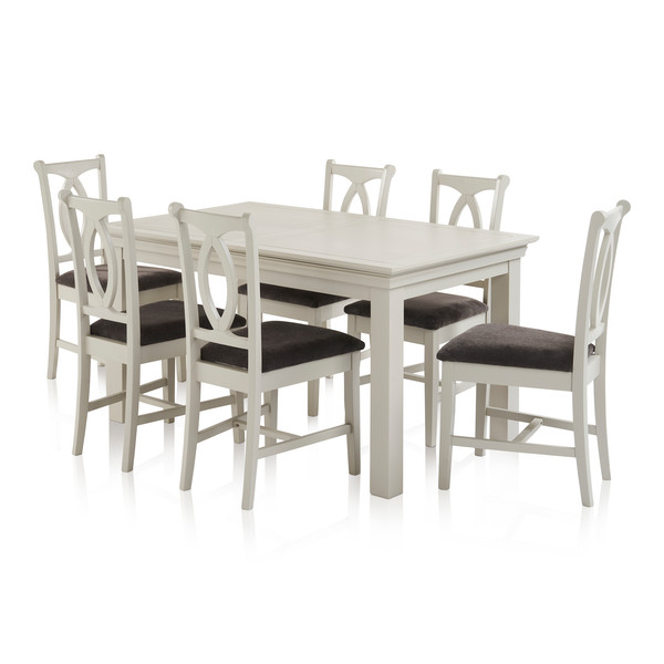 Arlette Painted Hardwood Dining Set 5ft Extending Dining Table With 6 Plain Charcoal Fabric Chairs thumbnail
