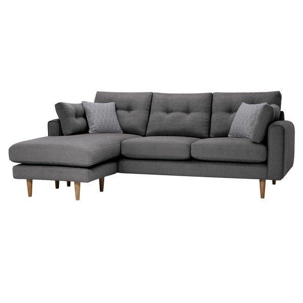 Charcoal Fabric Sofas Left Hand Chaise Sofa Brighton Range Oak Furnitureland