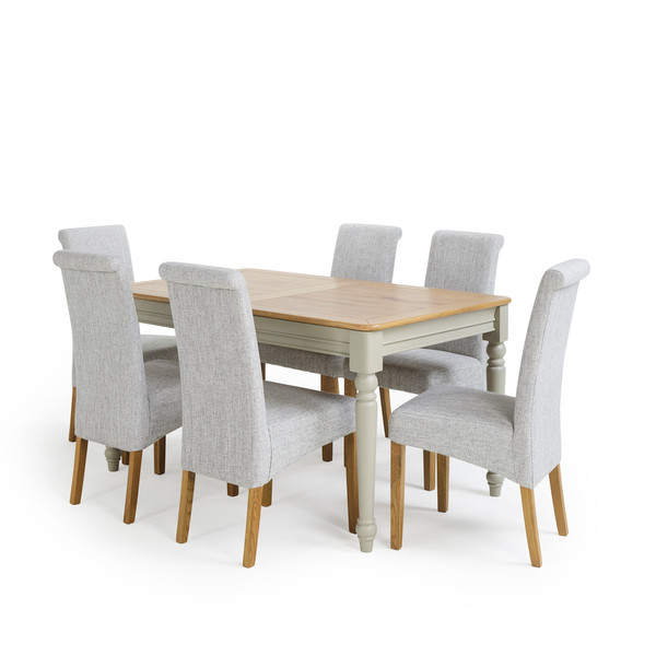 Brindle Natural Oak And Painted 4ft 9 Extending Dining Table With 6 Chairs thumbnail