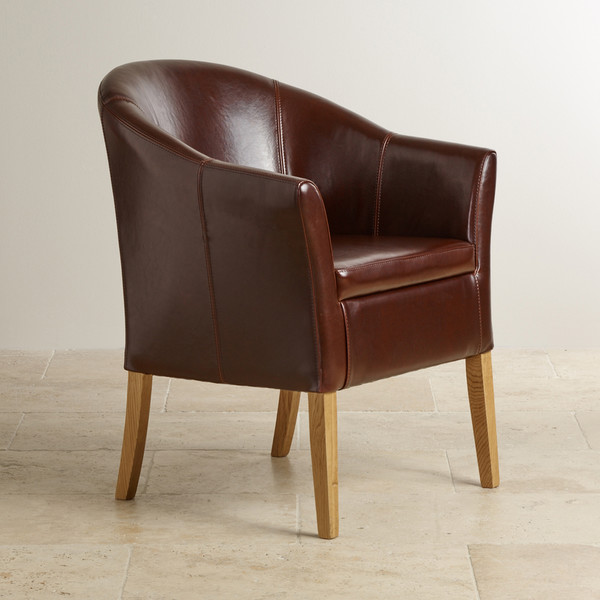 Brown Leather Tub Chair with Solid Oak Legs | Oak Furniture Land