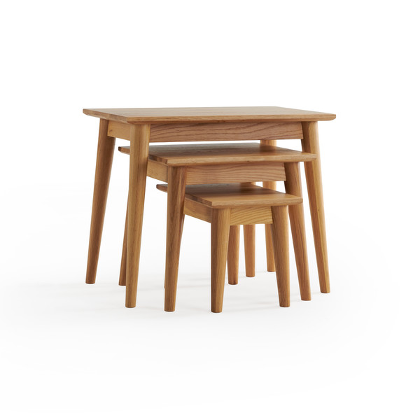 Cascade Natural Solid Oak Nest Of 3 Tables thumbnail