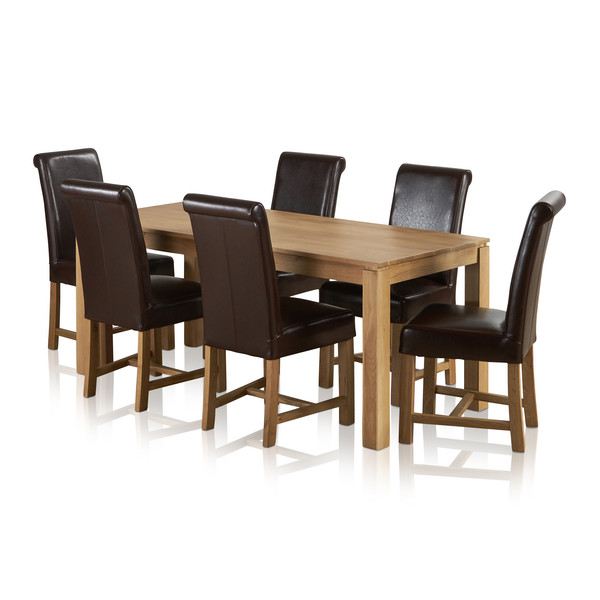 Galway Natural Solid Oak Dining Set 6ft Table With 6 Braced Scroll Back Brown Leather Chairs thumbnail