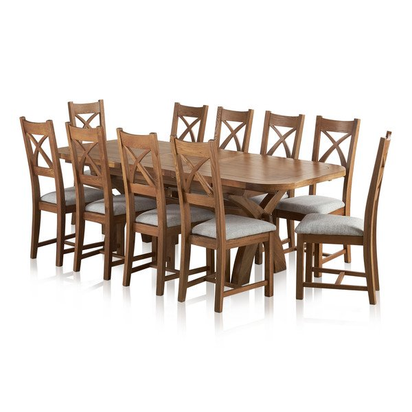 Hercules 6ft Extending Dining Set In Rustic Solid Oak 10 Cross Back Oak Furnitureland