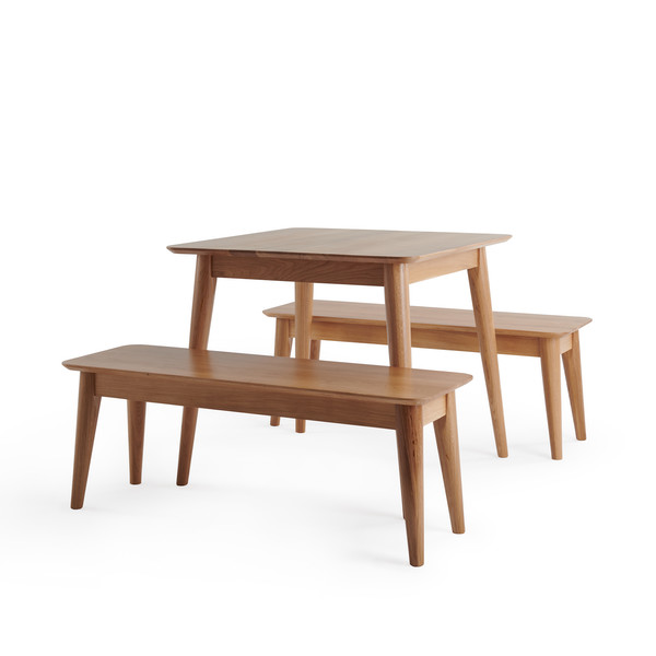 Oscar Natural Solid Oak 3ft Dining Table With 2 Oscar Benches thumbnail