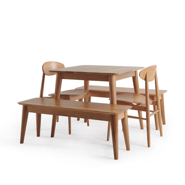 Oscar Natural Solid Oak 3ft Dining Table With 2 Oscar Benches And 2 Oscar Dining Chairs thumbnail