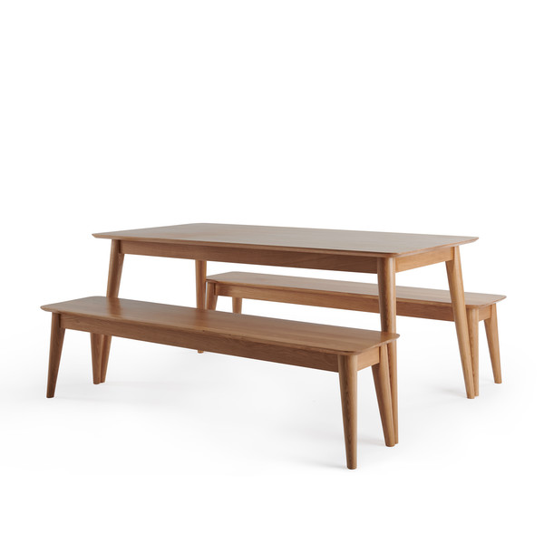 Oscar Natural Solid Oak 6ft Dining Table With 2 Oscar Benches thumbnail