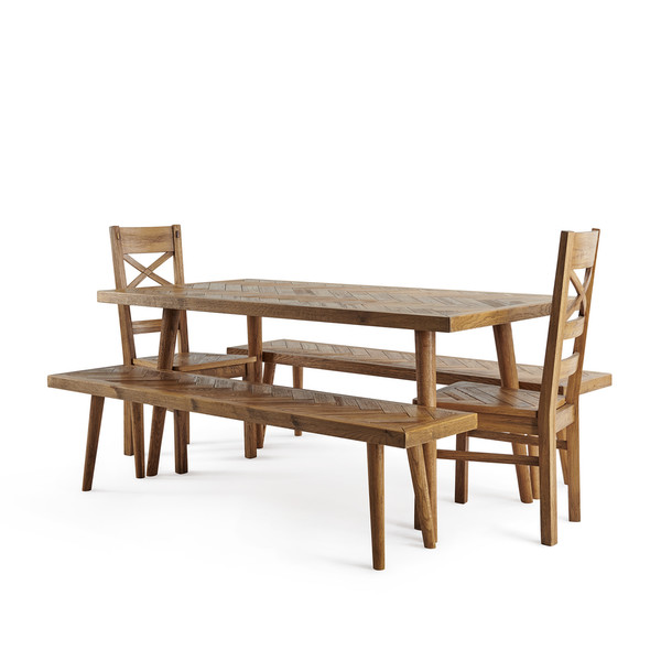 Parquet Brushed And Glazed Oak Dining Set With 2 Parquet Benches And 2 Parquet Chairs thumbnail