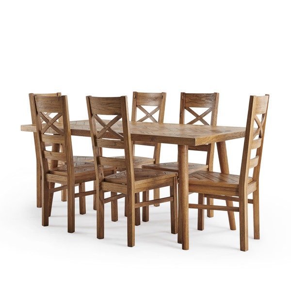 Parquet Brushed And Glazed Oak Dining Set With 6 Parquet Chairs thumbnail