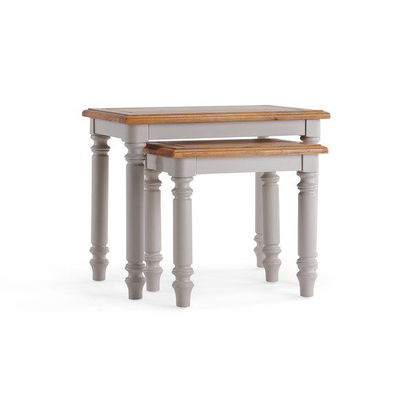 Roman Rustic Solid Oak Painted Nest Of 2 Tables thumbnail