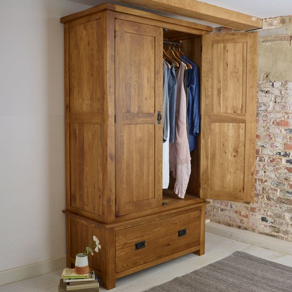 Original Rustic Solid Oak Double Wardrobe thumbnail