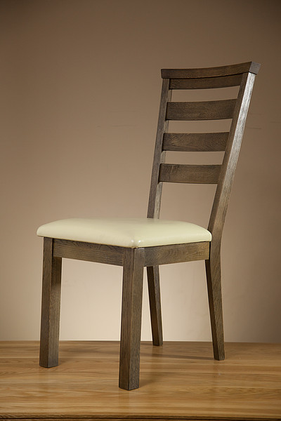 Windsor Brushed Solid Oak and Cream Leather Dining Chair