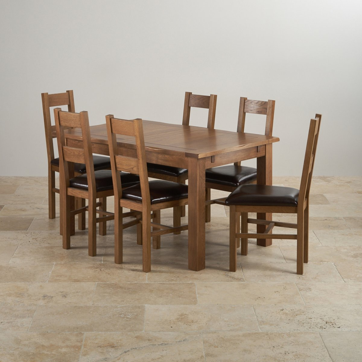 Dining Tables Rustic: Rushmere Extending Dining Table In Rustic Oak + 6 Leather