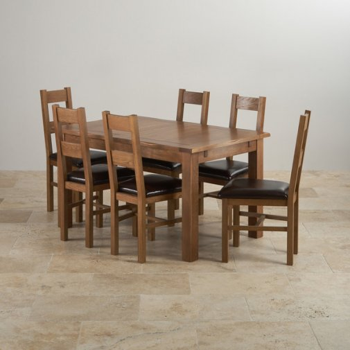 "Rushmere Rustic Solid Oak 4ft 7"" Extending Table with 6 Farmhouse and Brown Leather Chairs"