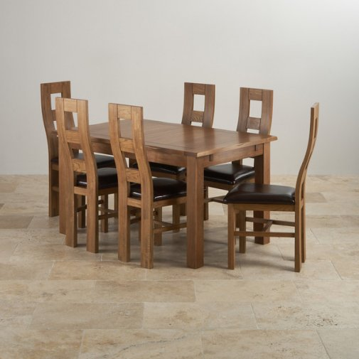 "Rushmere Rustic Solid Oak 4ft 7"" Extending Table with 6 Wave Back and Brown Leather Chairs"