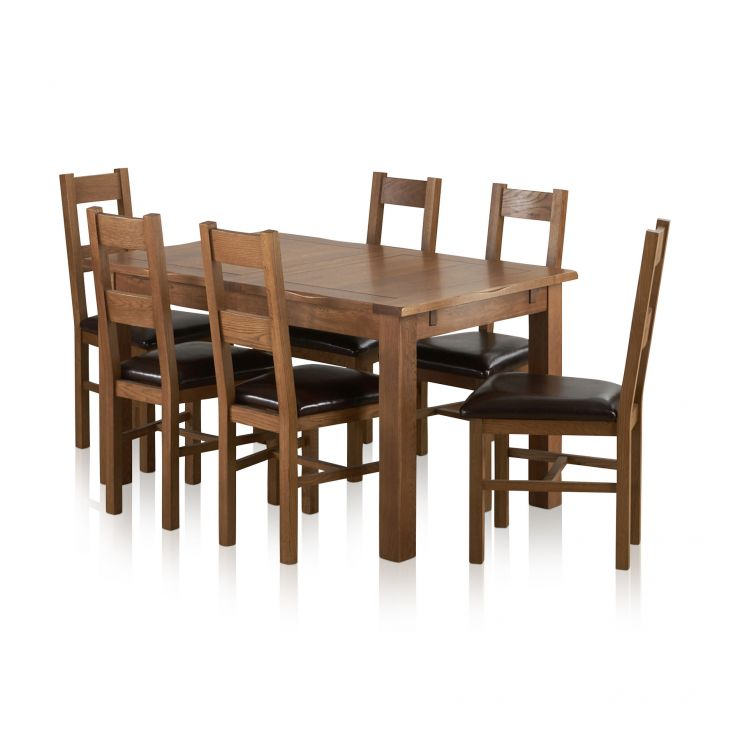 Rushmere Extending Dining Table In Rustic Oak 6 Leather Chairs