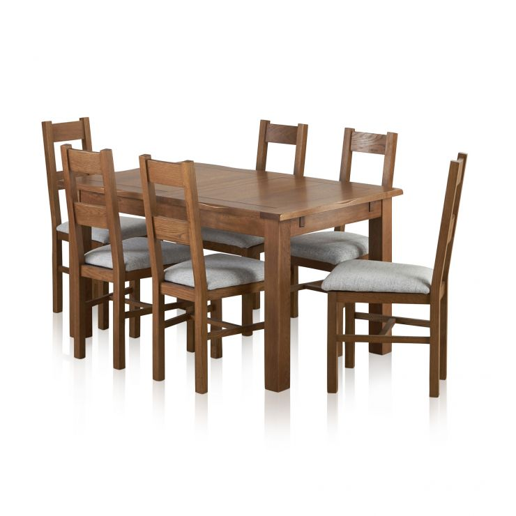 Hampshire Oak Dining Set 7pc: Rushmere Extending Dining Table In Rustic Oak + 6 Grey