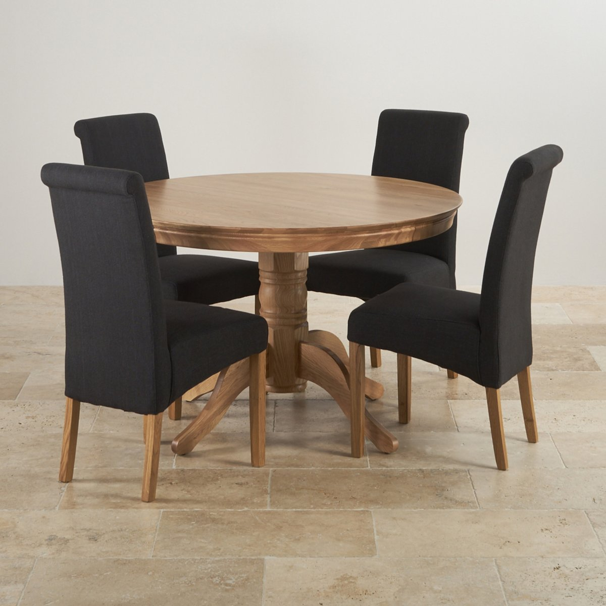 4ft Round Dining Table In Natural Oak + 4 Black Fabric Chairs