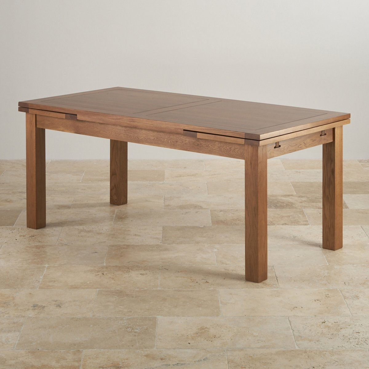 Extending Dining Table In Rustic Oak Oak Furniture Land