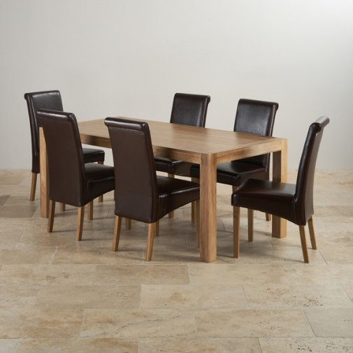 Alto Natural Solid Oak Dining Set - 6ft Table with 6 Scroll Back Brown Leather Chairs