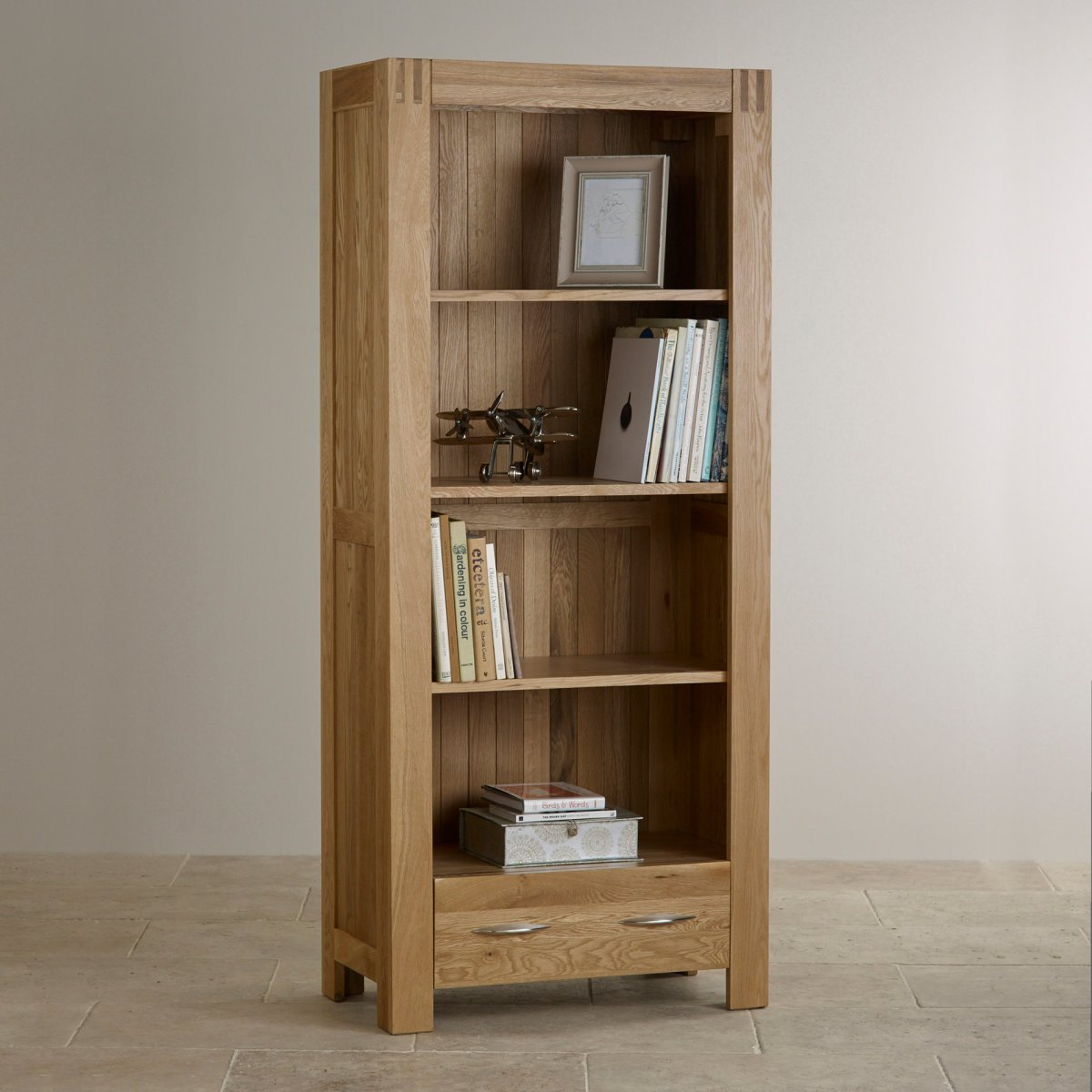 Living Room With Bookshelf: Alto Natural Solid Oak Bookcase