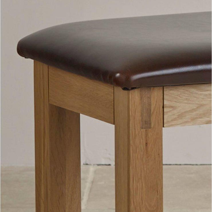 Alto Natural Solid Oak and Leather Dressing Table Stool