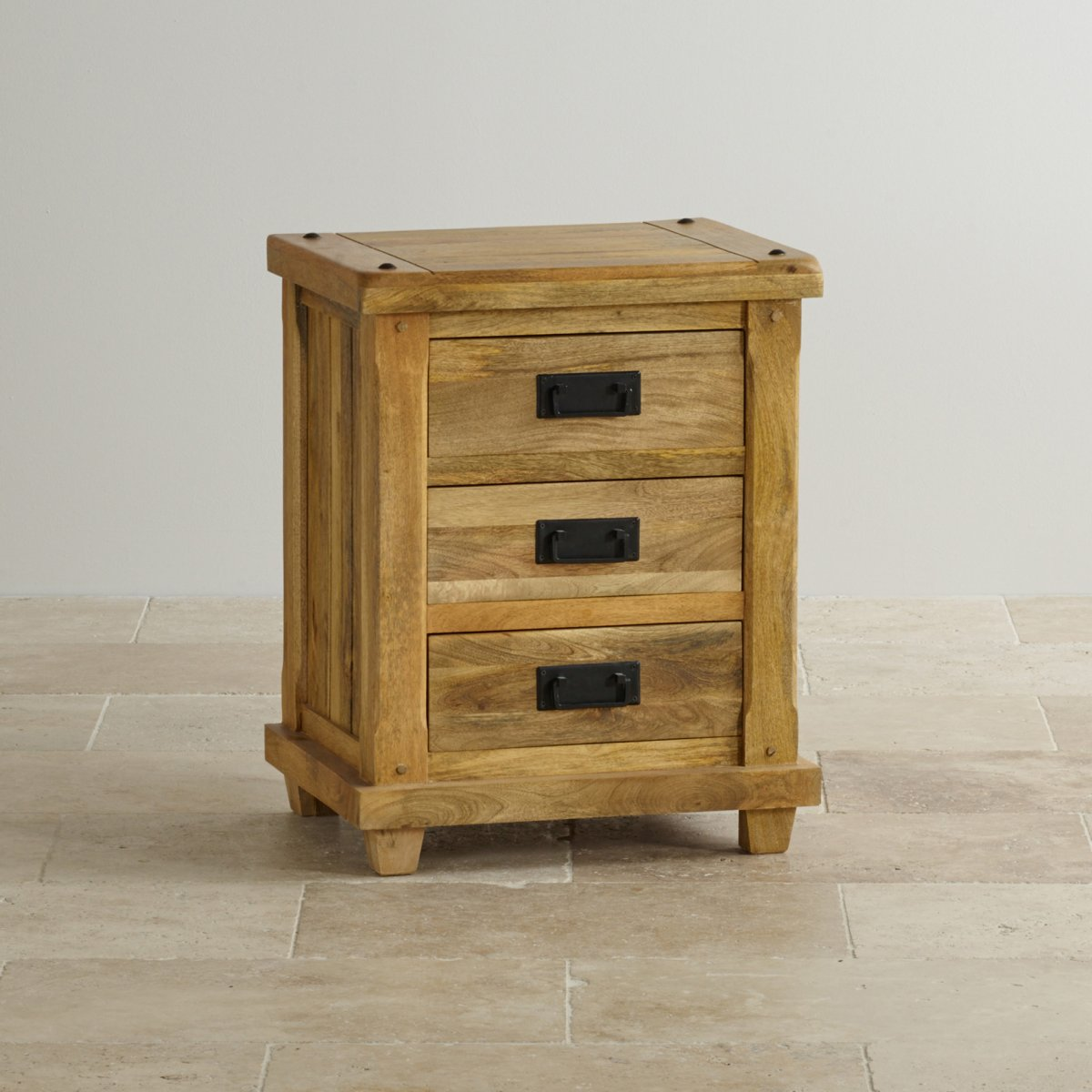 baku light bedside table in solid mango oak furniture land. Black Bedroom Furniture Sets. Home Design Ideas