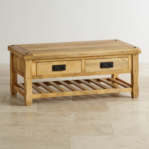 Baku Light Natural Solid Mango 4 Drawer Coffee Table