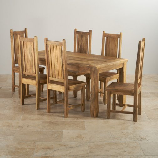 "Baku Light Natural Solid Mango Dining Set - 5ft 6"" Table with 6 Wooden Chairs"
