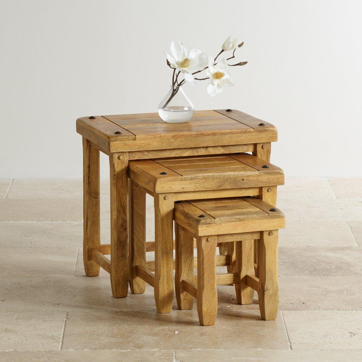 baku light nest of 3 tables in solid mango oak furniture. Black Bedroom Furniture Sets. Home Design Ideas