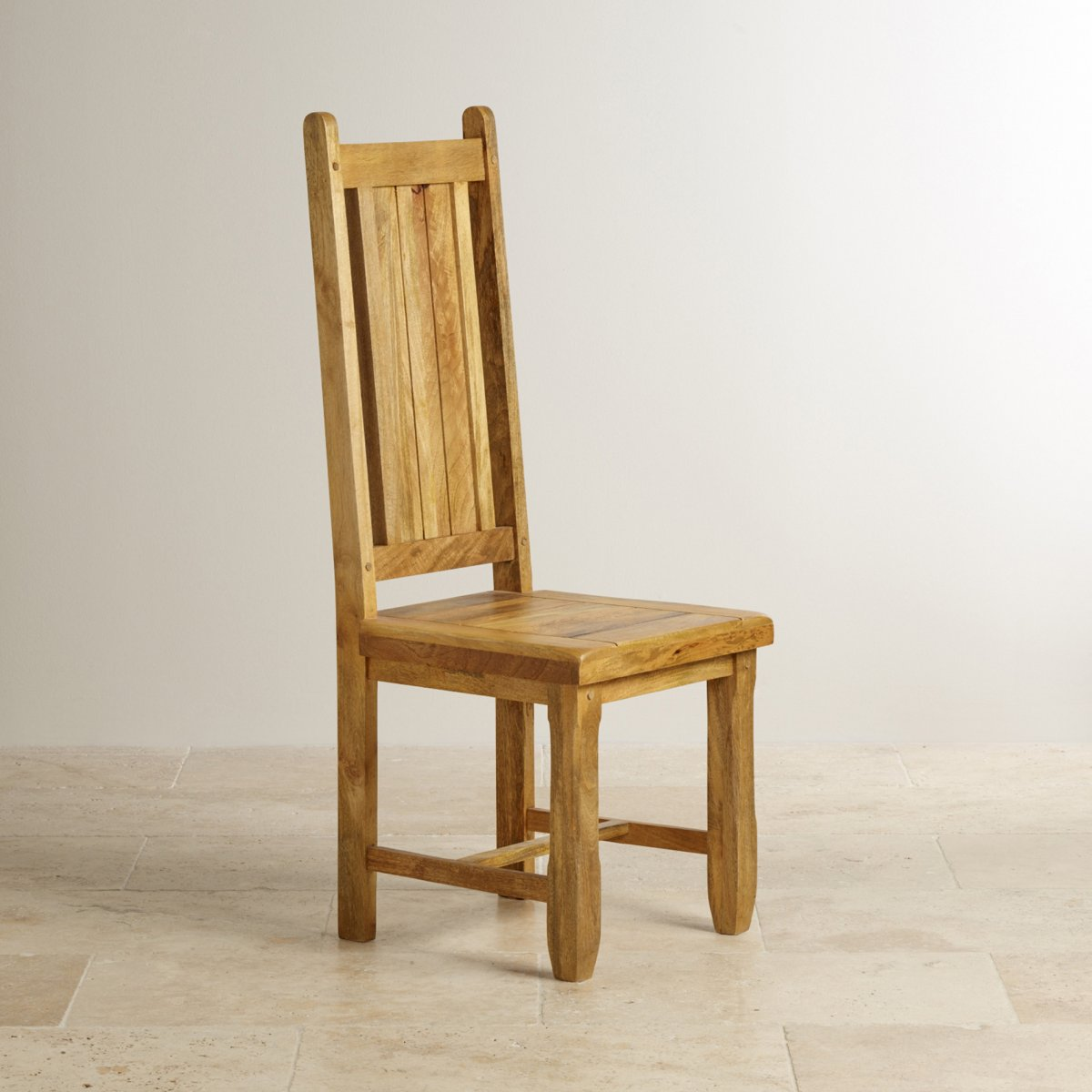 Natural Wood Dining Chairs ~ Baku light dining chair in natural solid mango wooden seat