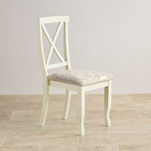 Bella Brushed Oak and Painted and Patterned Grey Fabric Dining Chair