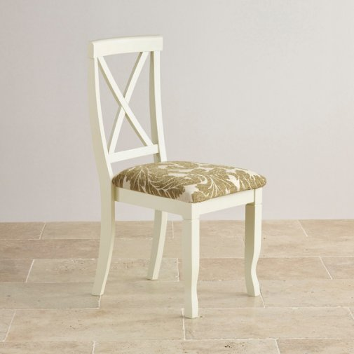 Bella Brushed Oak and Painted and Patterned Sage Fabric Dining Chair