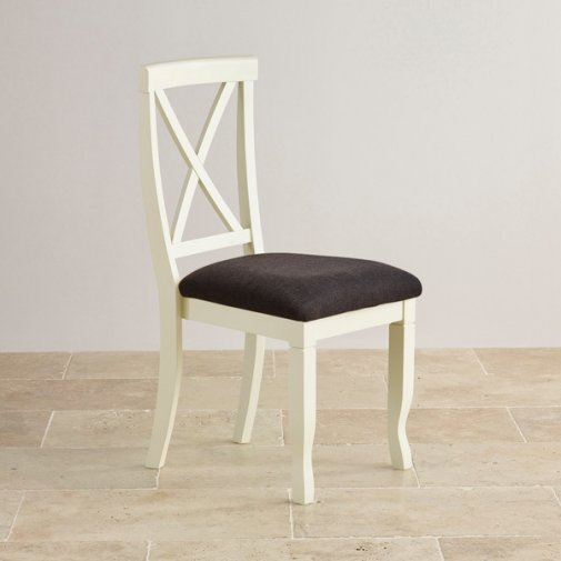 Bella Brushed Oak and Painted and Plain Black Fabric Dining Chair