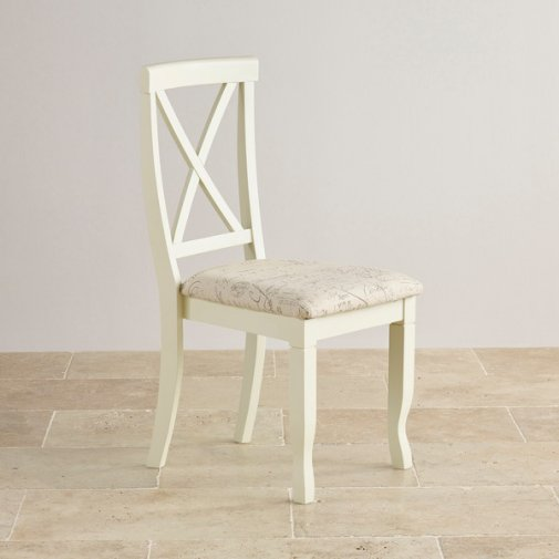 Bella Brushed Oak and Painted and Script Beige Fabric Chair