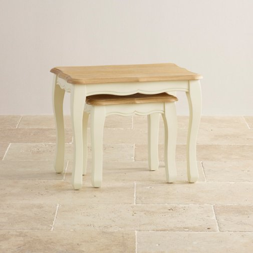 Bella Brushed Oak and Painted Nest of Tables