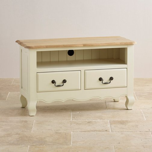 Bella Brushed Oak and Painted Small TV Cabinet