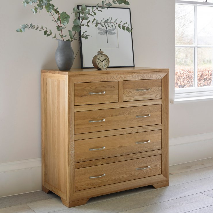 Bevel Natural Solid Oak 5 Drawer Chest
