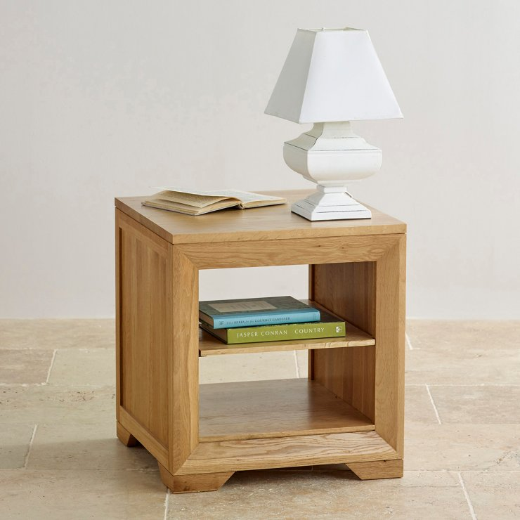 Bevel Natural Solid Oak Bedside Table with 1 Shelf