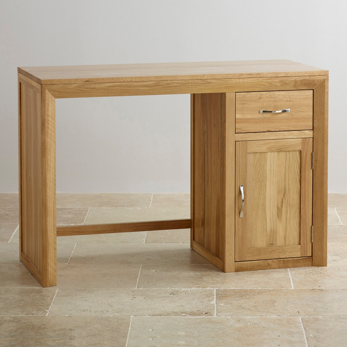 Bevel natural solid oak computer desk by oak furniture land for Solid oak furniture