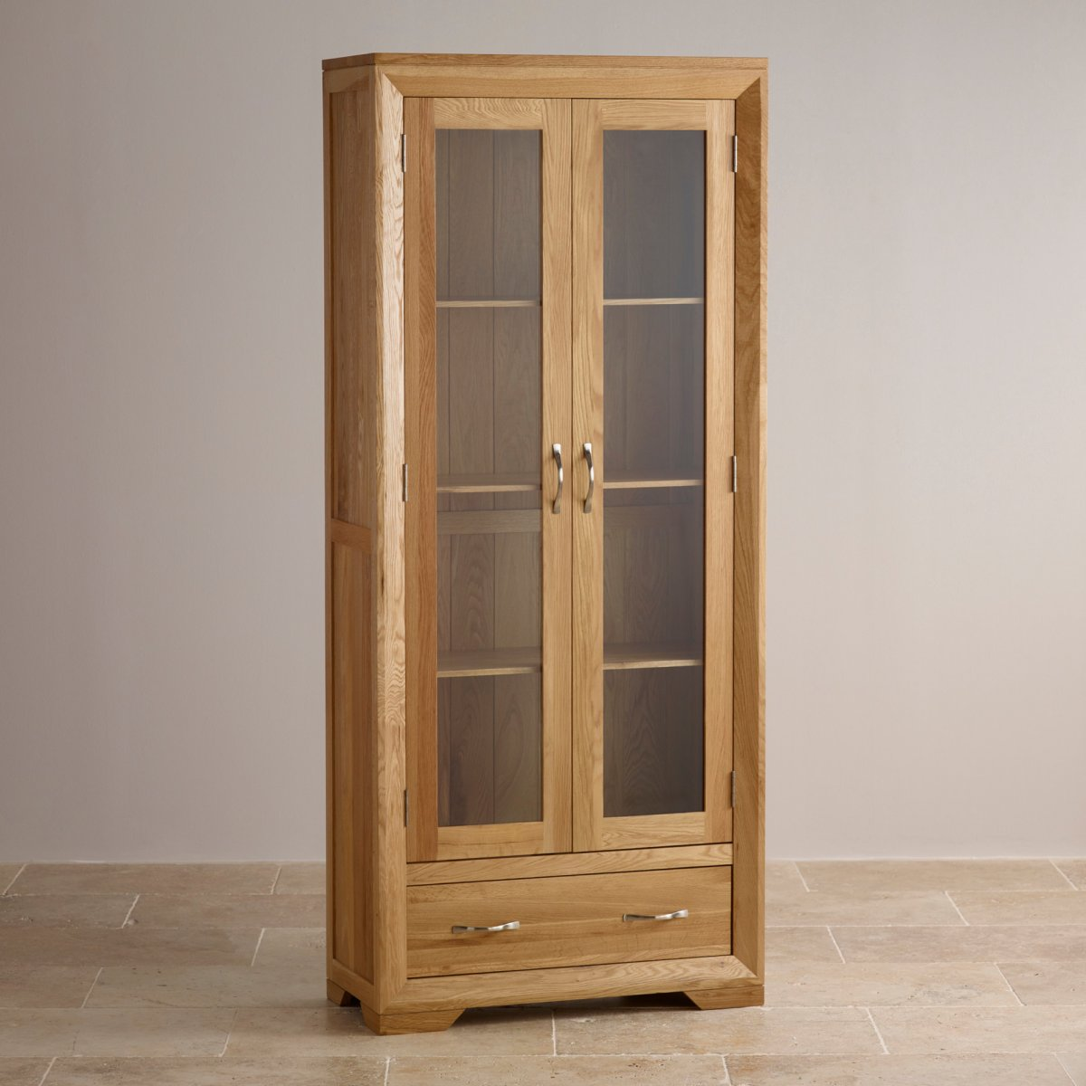 Bevel glazed display cabinet in solid oak oak furniture land for Solid oak furniture