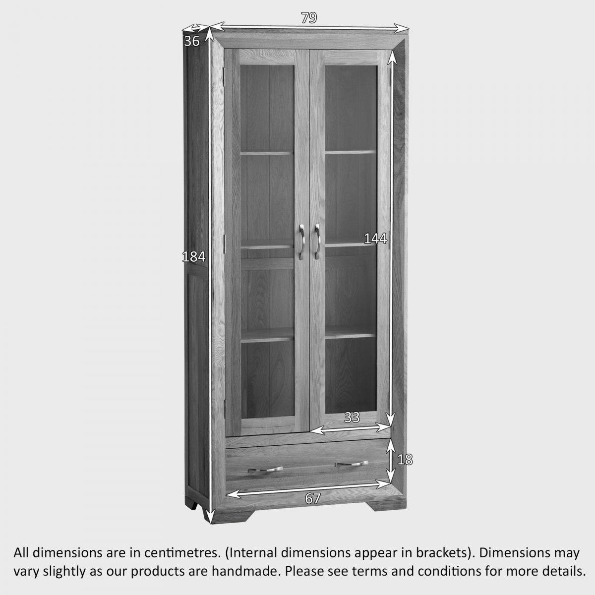 Bevel Glazed Display Cabinet in Solid Oak | Oak Furniture Land