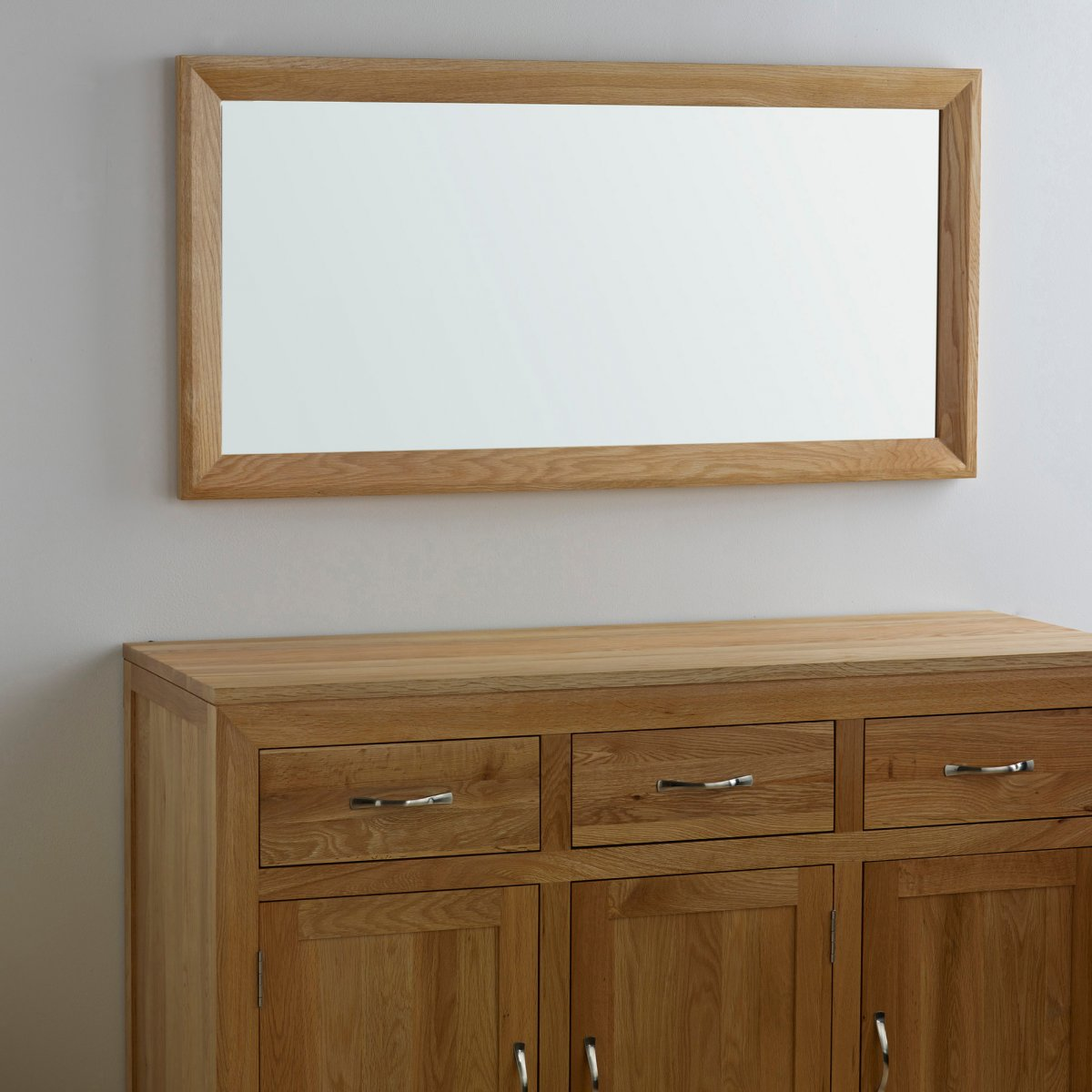 Bevel natural solid oak wall mirror by oak furniture land bevel natural solid oak 1200mm x 600mm wall mirror amipublicfo Choice Image