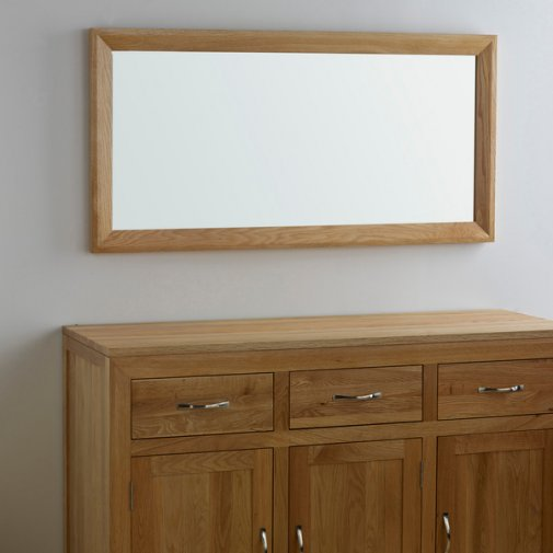 Bevel Natural Solid Oak 1200mm x 600mm Wall Mirror