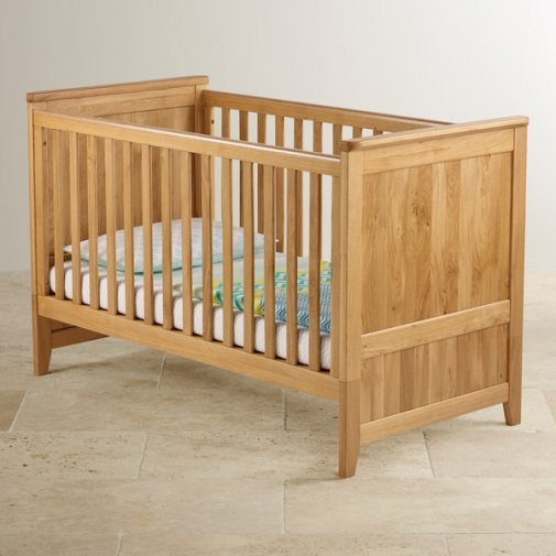 Bevel Natural Solid Oak 3 in 1 Cot Bed