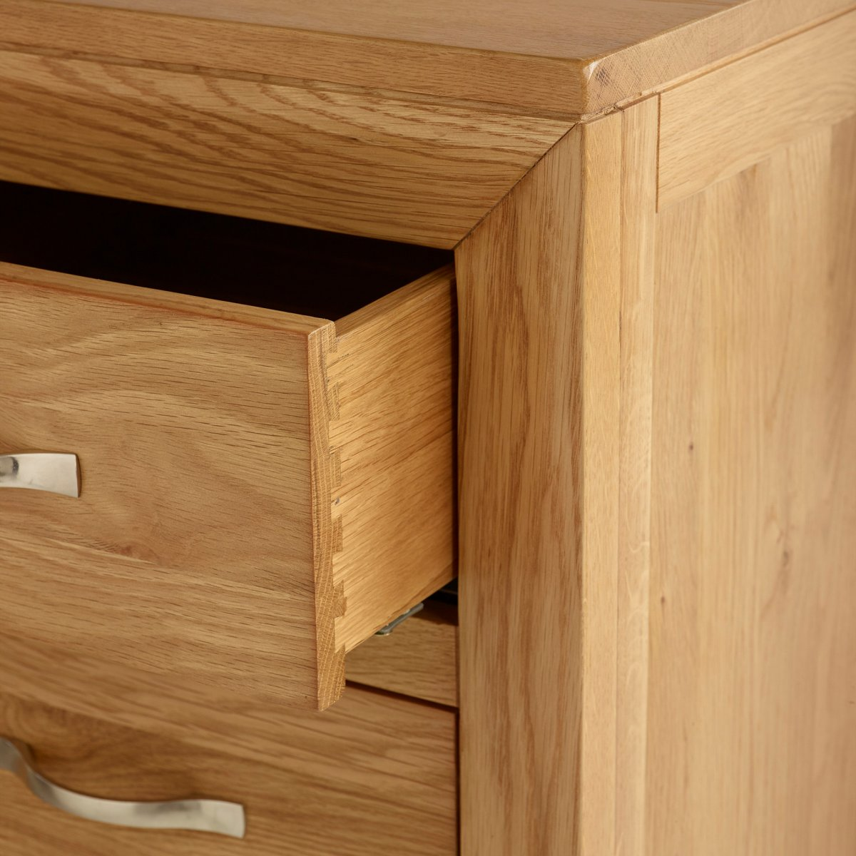 Bevel Soft Close Chest Of Drawers In Natural Solid Oak