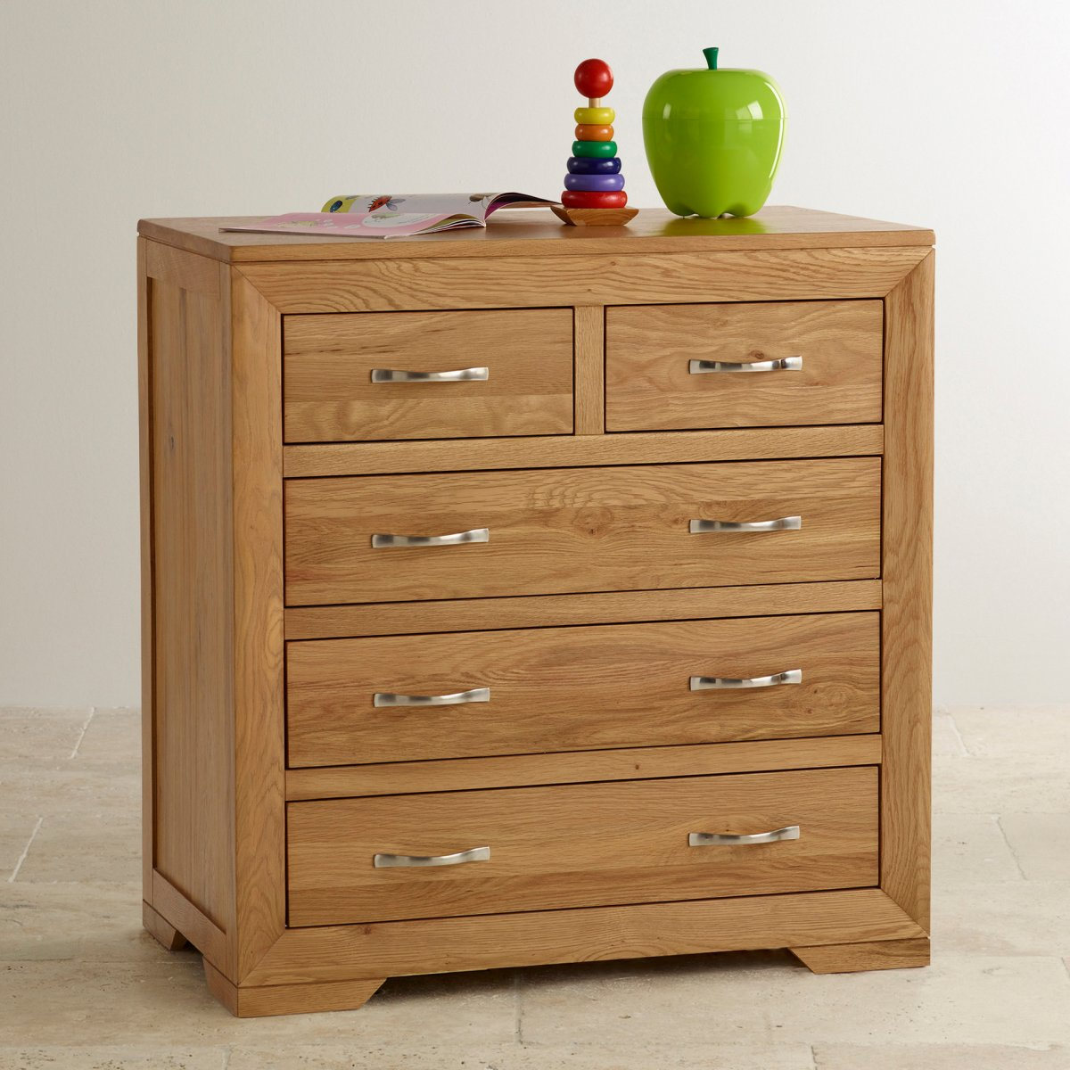 Bevel soft close chest of drawers in natural solid oak for Bedroom furniture soft close drawers