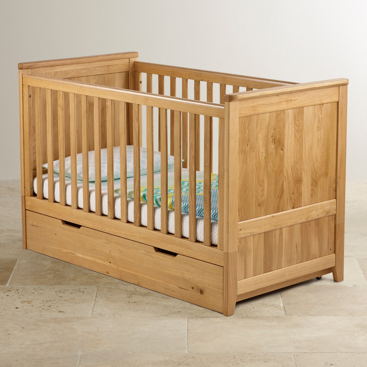 Bevel Under Bed Storage In Natural Solid Oak Oak