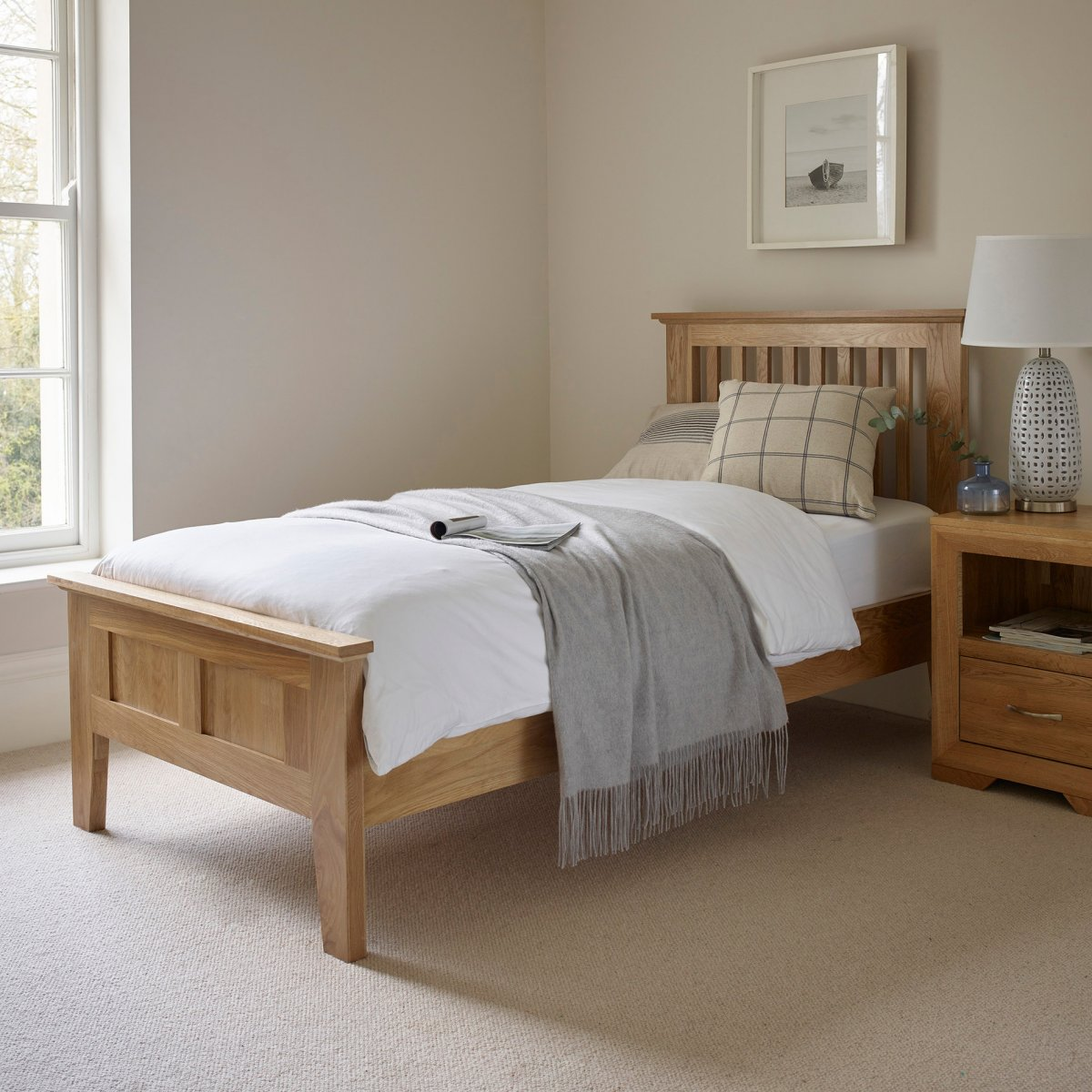 Bevel Single Bed In Natural Solid Oak | Oak Furniture Land